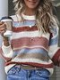 Multicolor Striped Plus Size Long Sleeve Statement Sweater