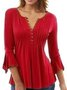 Plus Size Plain Long Sleeve V Neck Casual Tops