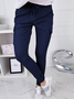 Solid Cotton-Blend Pockets Casual Pants