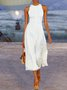 White Cotton Solid Sleeveless Dresses